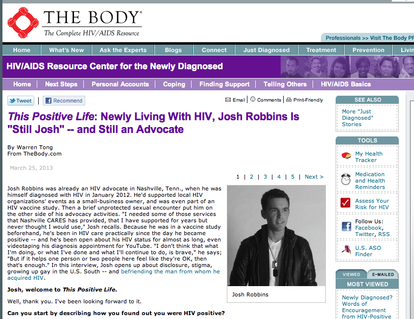 HIV Stories from HIV Positive Activist and Blogger Josh Robbins