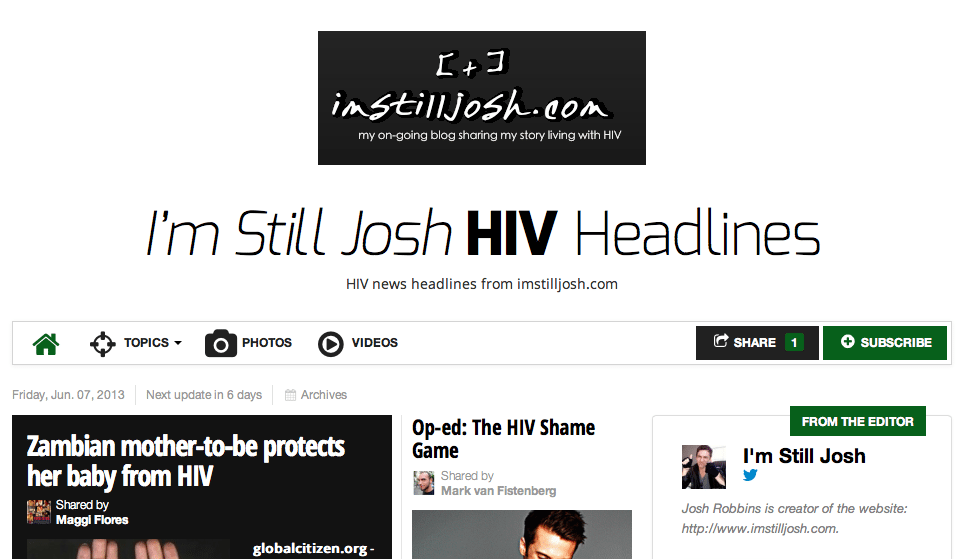 HIV news from imstilljosh.com