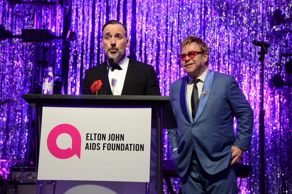 EJAF Chairman David Furnish and Elton John attends the 23rd Annual Elton John AIDS Foundation Academy Awards Viewing Party on February 22, 2015 in Los Angeles, California. Credit: Getty Images, 2015