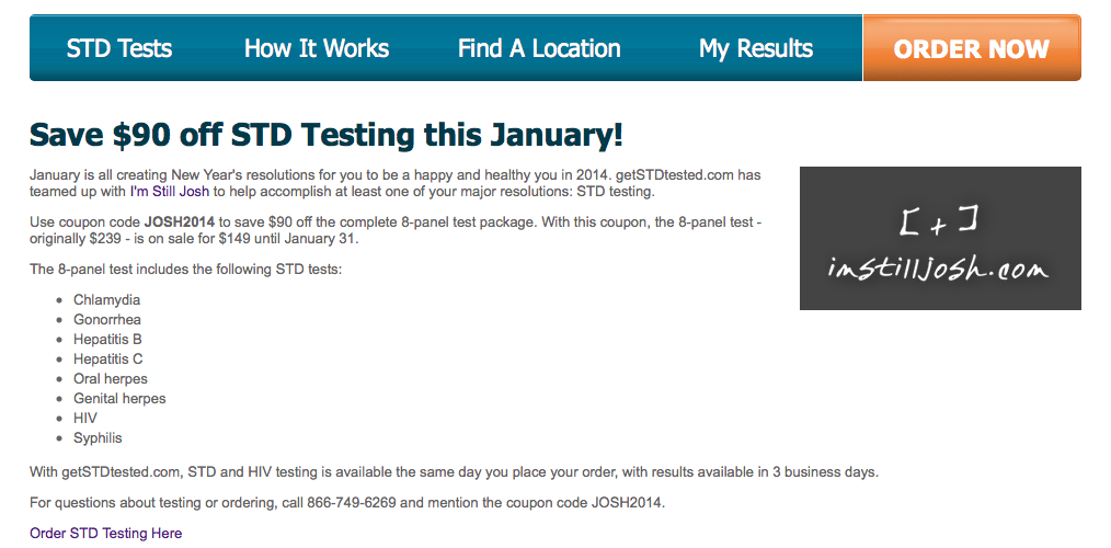 Special Discount from getstdtested.com for imstilljosh.com readers
