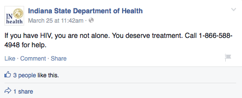 """You Are Not Alone"" Social Media Campaign to Stop HIV Epidemic in Indiana"